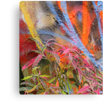 Cadillac Ranch Abstract with Painted Plant Canvas Print