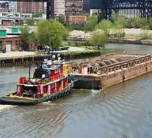 Tugboat And Mud Barge by StonePhotos