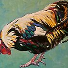 Rooster, Inis Mor Ireland. Oil on canvas. 51x41cm. 2012Ⓒ by Elizabeth Moore Golding