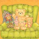 Teddy and Toys in Armchair by Kaye Miller-Dewing