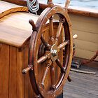 Traditional wooden ships wheel, Brest 2008 Maritime Festival, France by silverportpics
