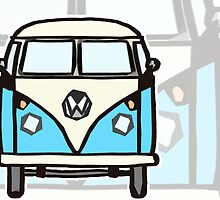 Blue White Campervan (slightly cubist) by Ra12