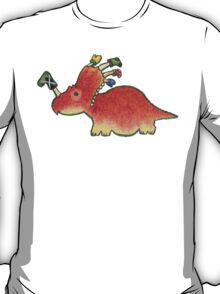 Orange Styracosaurus Derposaur with Socks T-Shirt