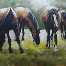 New Forest Horses painting by Samuel Durkin