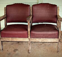Two Old Theatre Seats at the Railway Station by Vanessa Barklay