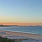 Sunset on Bilinga Beach and Surfers Paradise, Qld, Australia by Margaret  Hyde