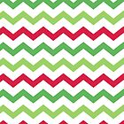 Red Green White Christmas Chevron Pattern by Cierra Doran