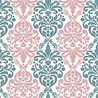 Trendy Pink and Blue Damask Print by Cierra Doran