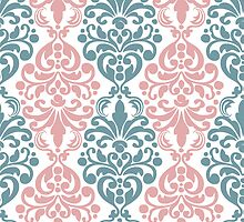 Trendy Pink and Blue Damask Print by cikedo