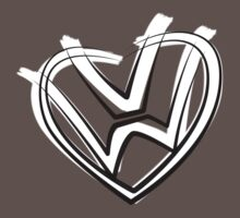 VW heart logo in a painted style Kids Clothes