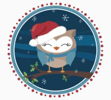 FESTIVE CHRISTMAS T-SHIRT :: boy owl night time by Kat Massard