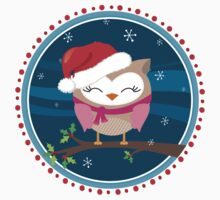 FESTIVE CHRISTMAS T-SHIRT :: girl owl night time by Kat Massard