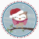 FESTIVE CHRISTMAS T-SHIRT :: girl owl day time by Kat Massard