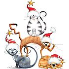 Kazart Xmas Cat Stack  by Karen Sagovac