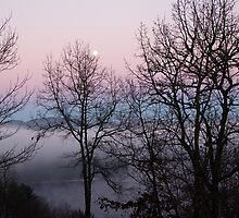 Moon over Lake Glenville by KSKphotography