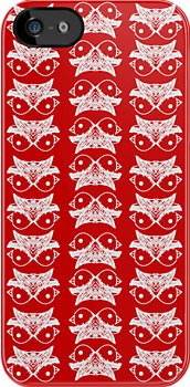 Red mirror bird pattern by Csöpi's Art