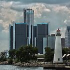 Renaissance Center and Milliken Lighthouse by Tina Logan