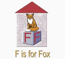 F is for Fox Play Brick T-shirt by Dennis Melling