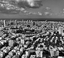 Tel Aviv center in black and white by Ronsho