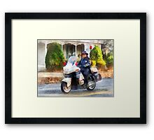 Suburban Motorcycle Cop Framed Print