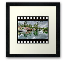 Nostalgia Collection • Islands of The Bahamas • Reflections on The Canal at Coral Harbour Town on New Providence Island Framed Print