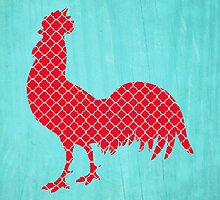 Red Patterned Rooster Silhouette  by runninragged