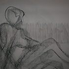 Woman reclining 1 minute gesture- charcoal by Christoph72