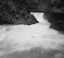 The Soteska Vintgar gorge in Black and White, Gorje, near Bled,  by Ian Middleton