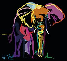 Wild life - Elephant in colour by Go van Kampen