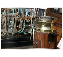 Compass and binnacle onboard a tall ship, Brest Maritime Festival 2008, France Poster