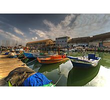 resting boats at the Jaffa port Photographic Print