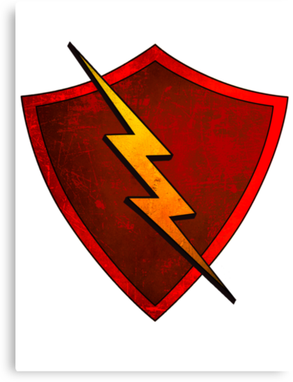 Superhero Design - Red Shield with Lightning Bolt by Chunga