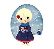 Rosy Snowflakes Photographic Print