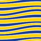 Yellow and Blue Wavy French Stripes by Carol-Anne Ryce-Paul