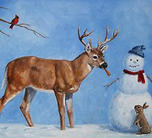 Deer & Snowman Holiday Scene by csforest