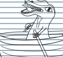 Looseleaf Raptor In A Rowboat Sticker