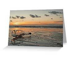 Message in a Bottle Sunset Greeting Card