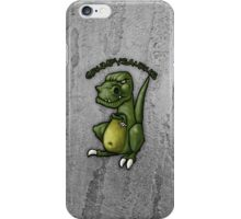 Grumpy green dinosaur in a bad mood iPhone Case/Skin