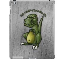 Grumpy green dinosaur in a bad mood iPad Case/Skin