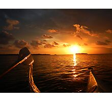 sunset rowing  Photographic Print