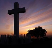 Helix - Silhouetted Cross Mountain Sunset by Lisa McDowell