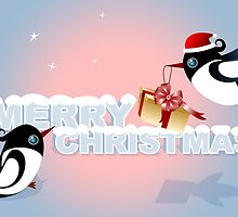 Christmas Card - Birds Christmas Gift by ruxique