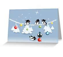 Funny Xmas Card - Birds and Bubbles in Snow Greeting Card