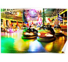 Bumper Cars at Night Poster