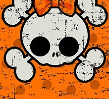 SUGAR SKULL ON ORANGE GRUNGE by monkeydesigns4u