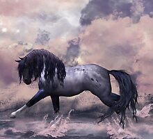 Fantasy Horse Splashing Majestically On The Shore by Moonlake