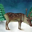 'Reindeer in Snow' by Valena Lova