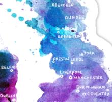 UK map in Watercolours Sticker