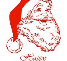 Happy holidays Christmas card with Santa by Cheryl Hall