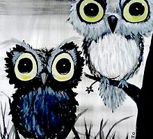 Black and white owls art by sweetjay-o